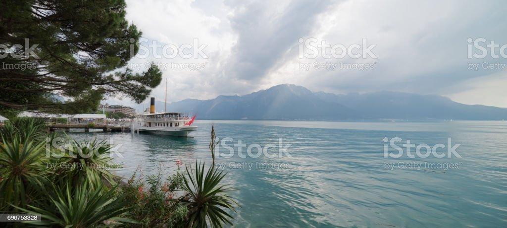 Lake Leman at Montreux in Switzerland stock photo