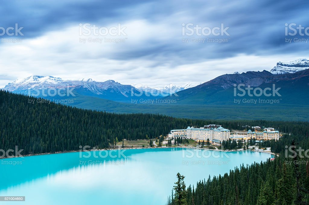 Lake Louise and Snow Mountains stock photo