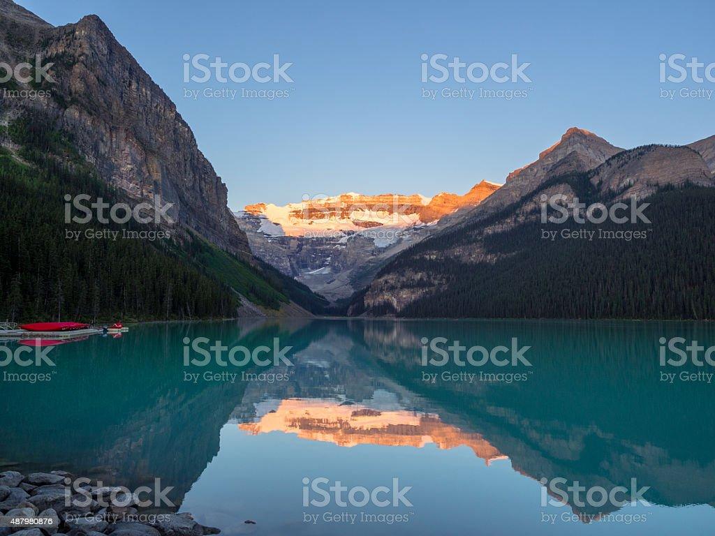 Lake Louise at sunrise stock photo