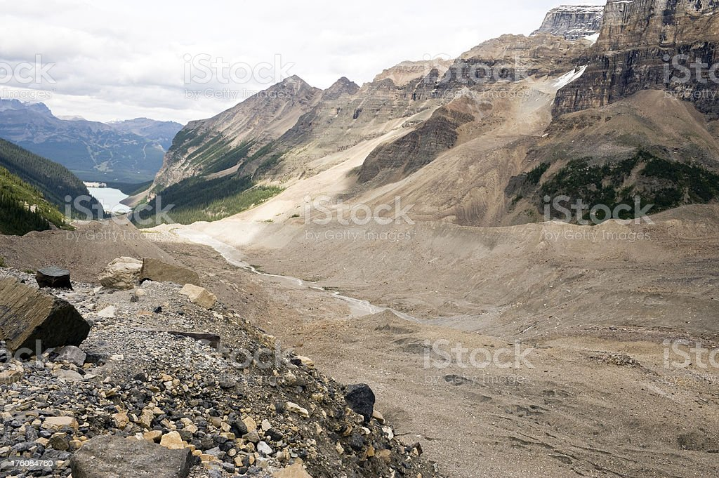 Lake Louise from The Plain of Six Glaciers Viewpoint stock photo