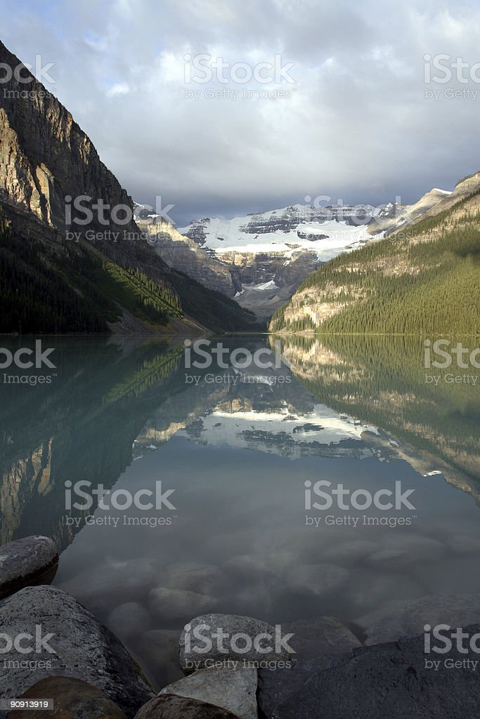 Lake Louise from the rocks royalty-free stock photo