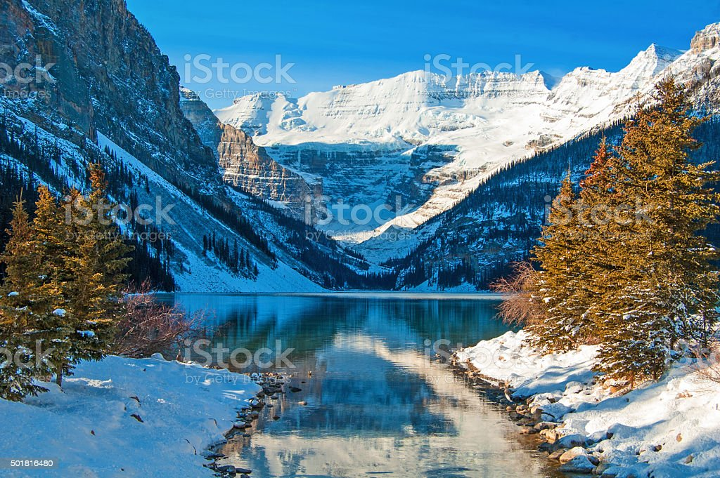 Lake Louise in late winter with outlet creek. stock photo