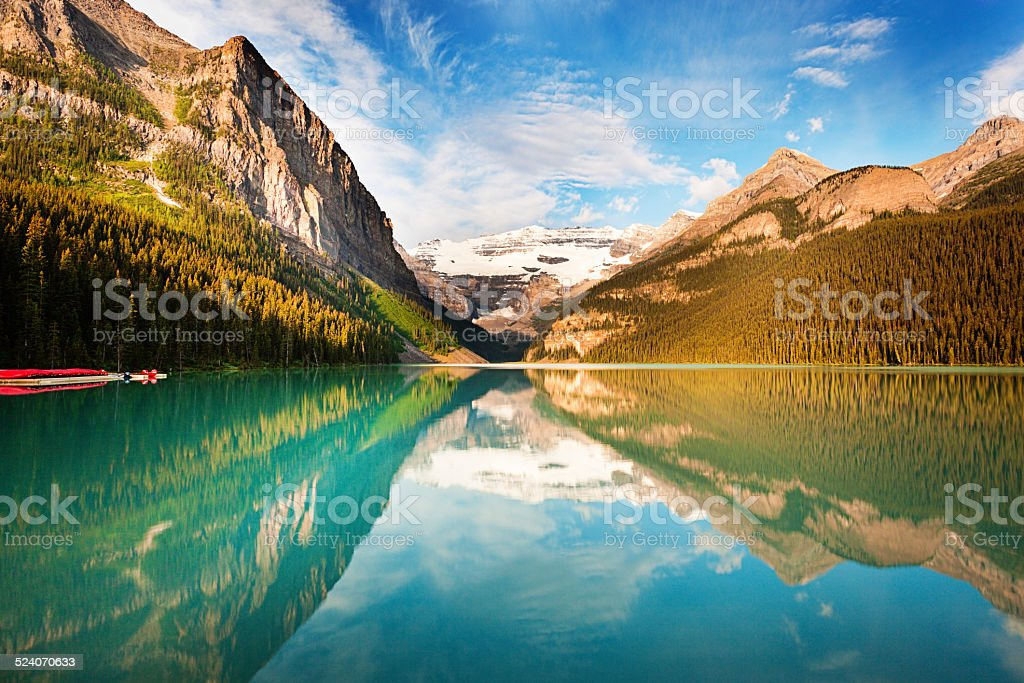 Lake Louise Morning in Banff National Park of Canada stock photo