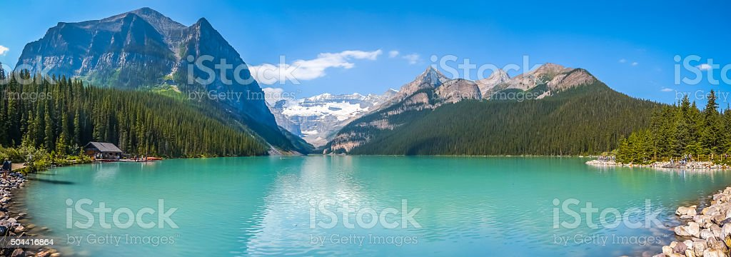 Lake Louise mountain lake panorama, Banff National Park, Alberta, Canada stock photo