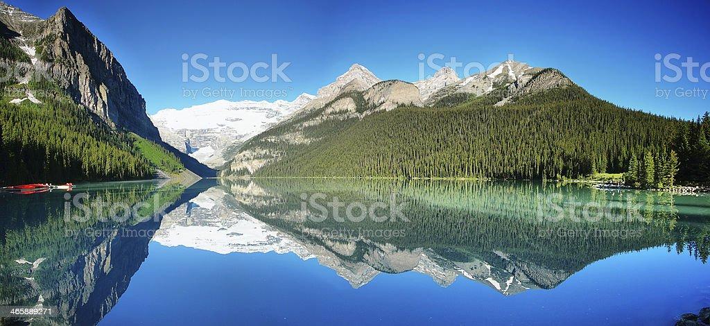 Lake Louise panorama stock photo