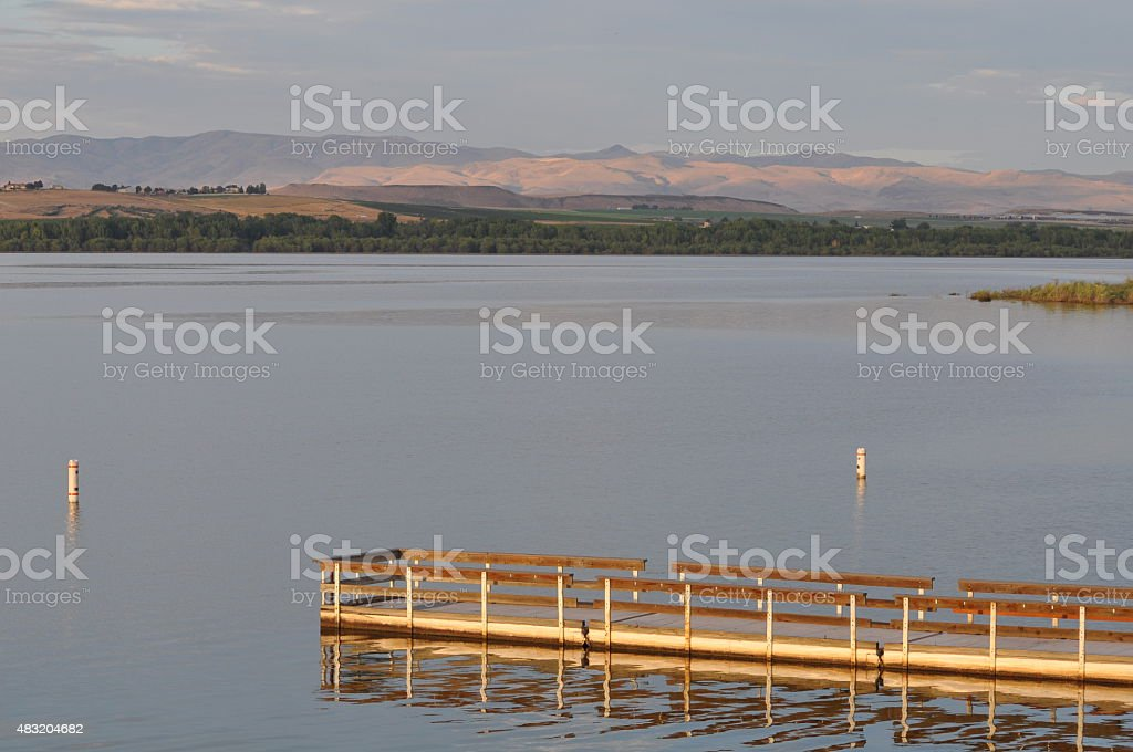 Lake Lowell Dock at Sunrise stock photo
