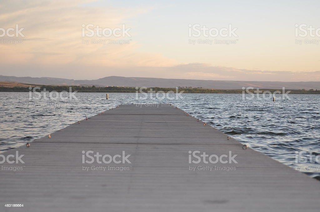 Lake Lowell Pier at Sunset stock photo