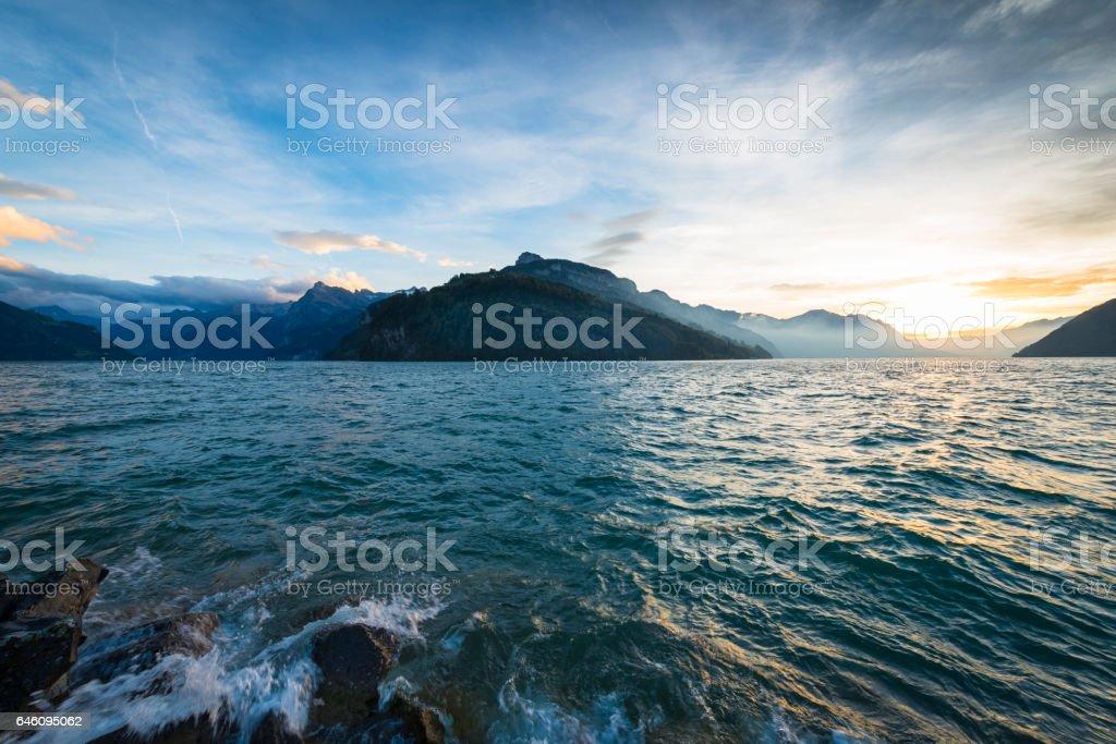 Lake Lucerne in Brunnen. stock photo
