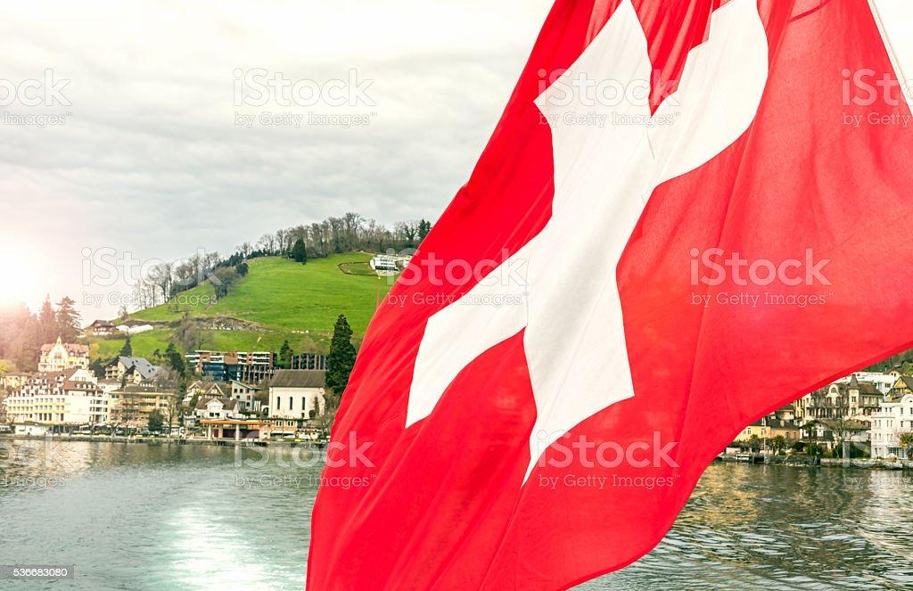 Lake Lucerne in Switzerland stock photo
