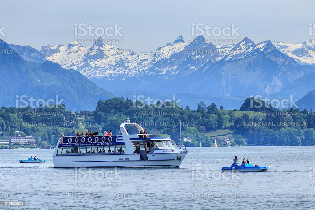 Lake Lucerne on a foggy day in spring stock photo