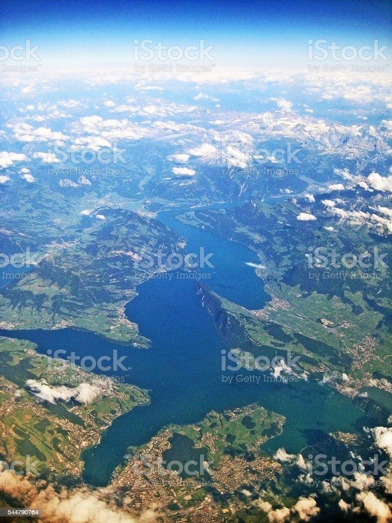 Lake Lucerne / Vierwaldstaettersee, Switzerland - aerial view stock photo