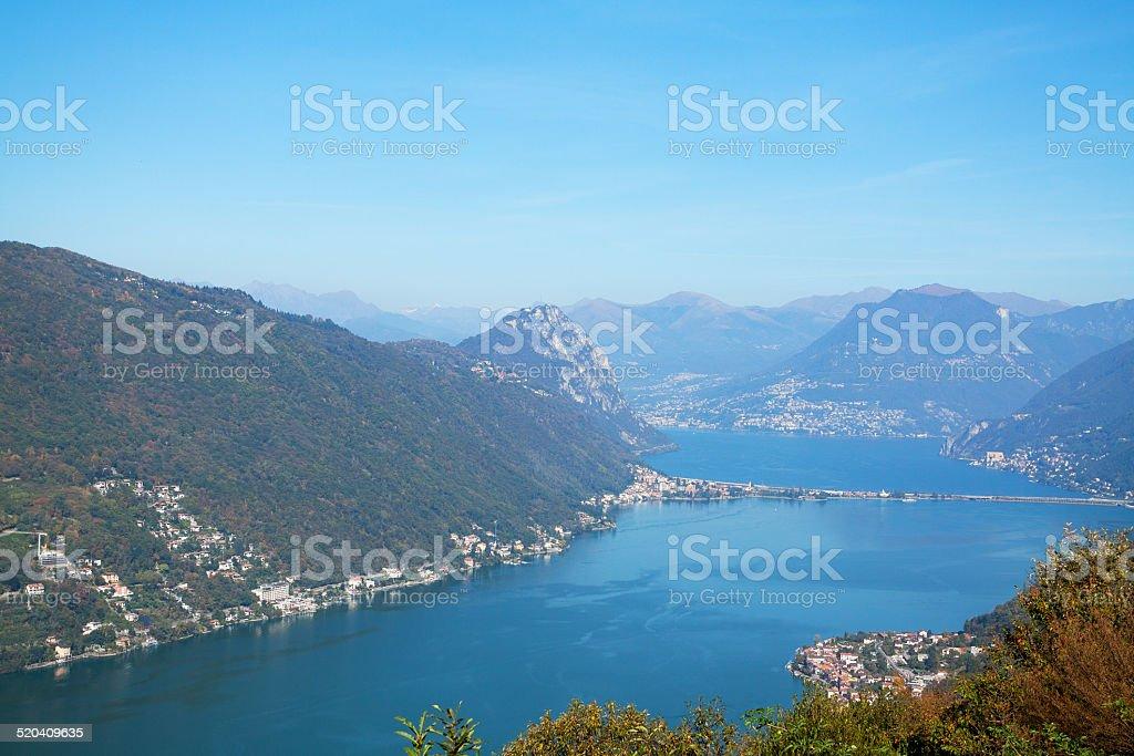 Lake Lugano in autumn stock photo