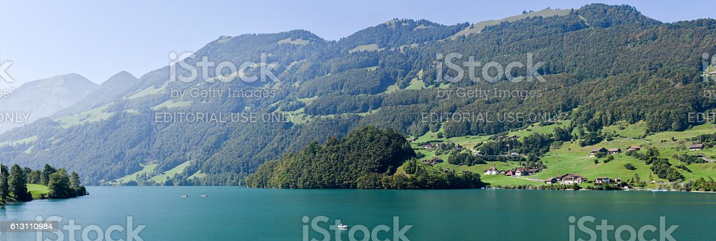 Lake Lungern on Canton Obwalden in Switzerland stock photo
