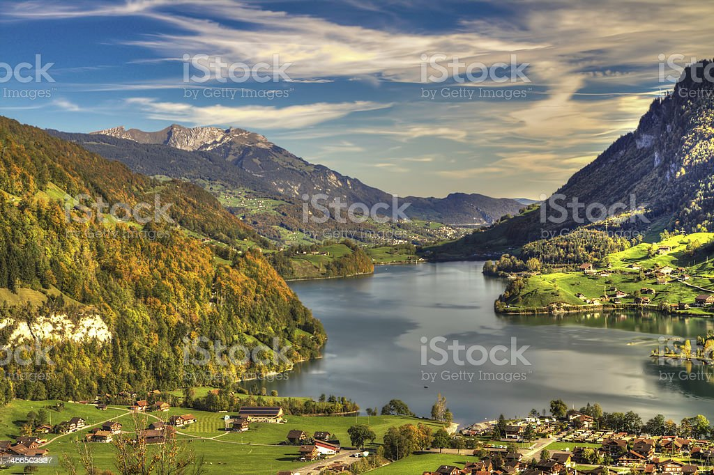 Lake Lungern Valley from Br?nig Pass, Switzerland, HDR stock photo