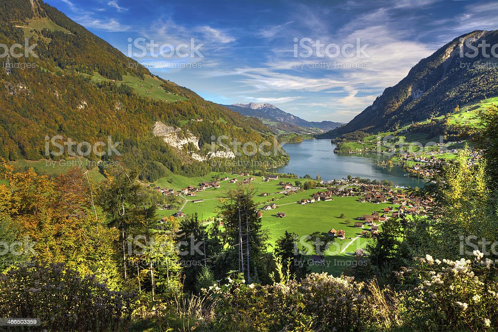 Lake Lungern Valley from Br?nig Pass, Switzerland royalty-free stock photo