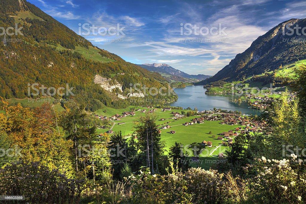 Lake Lungern Valley from Br?nig Pass, Switzerland stock photo