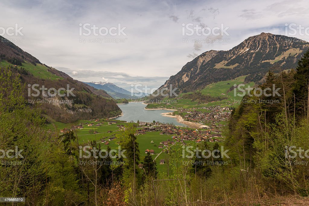 Lake Lungern Valley from Brunig Pass, Switzerland stock photo
