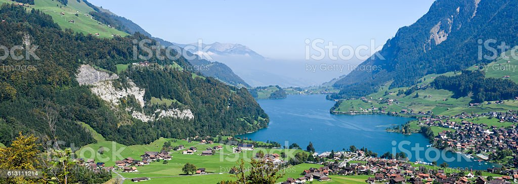 Lake Lungern Valley view from Brunig Pass stock photo