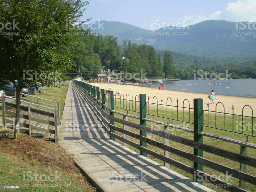 Lake Lure boardwalk royalty-free stock photo