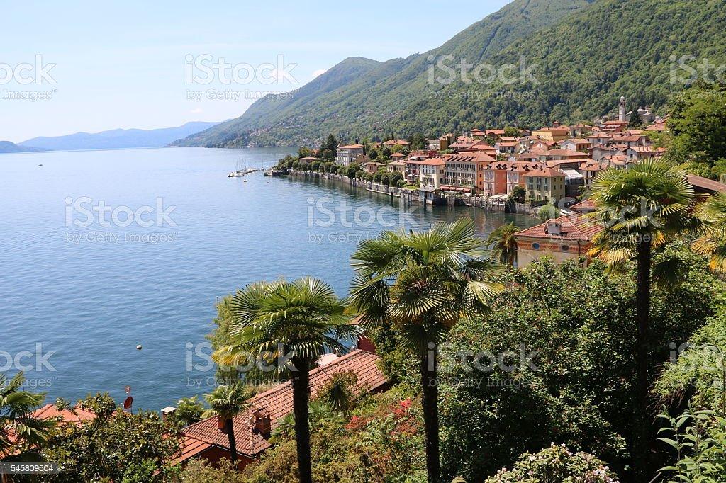 Lake Maggiore and the shore of Cannero Riviera, Piedmont Italy stock photo