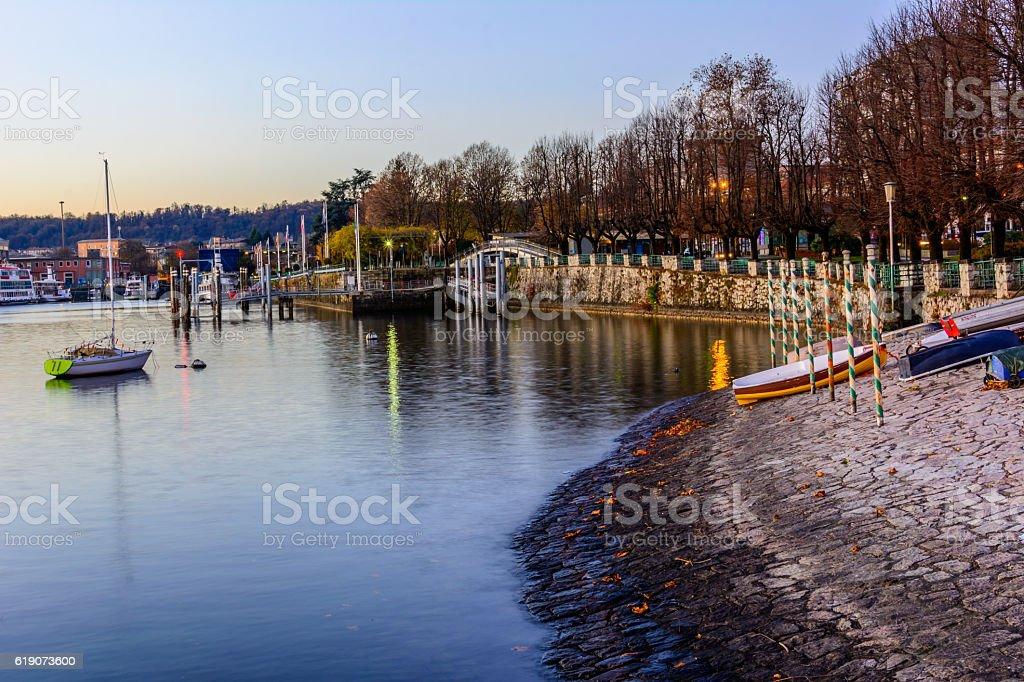 Lake Maggiore at morning sunrise, Piedmont,Arona, Italy stock photo