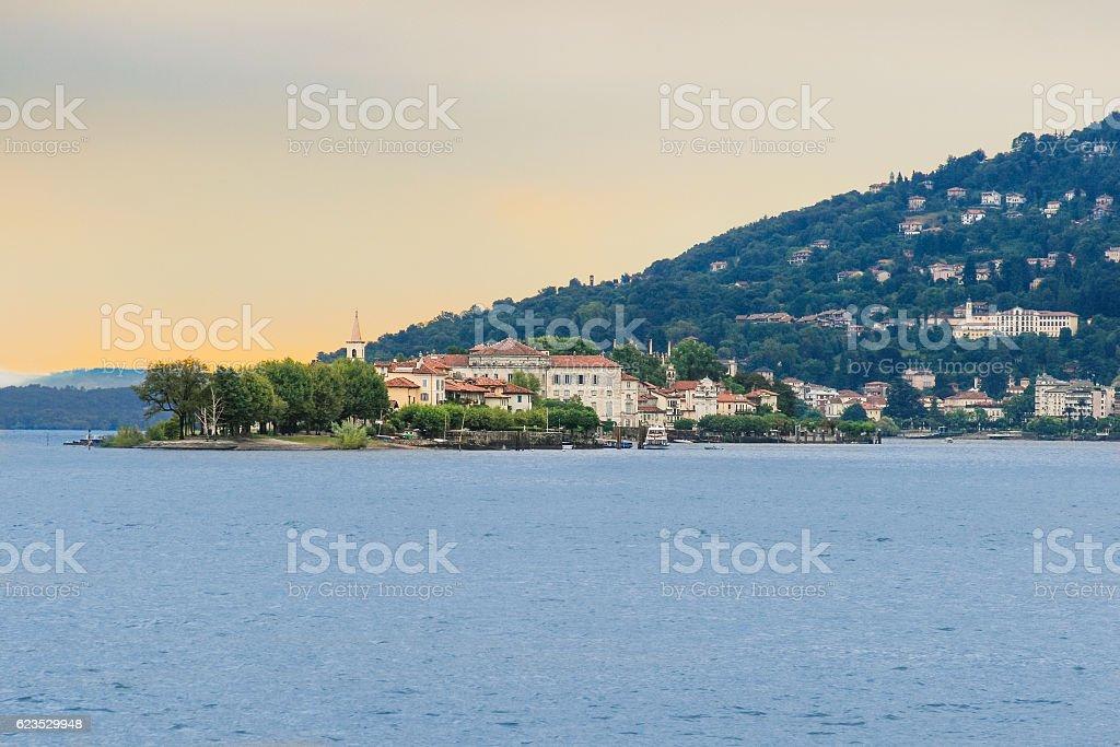 Lake Maggiore, Borromeo Palace on Isola Bella and Alps, Italy. stock photo