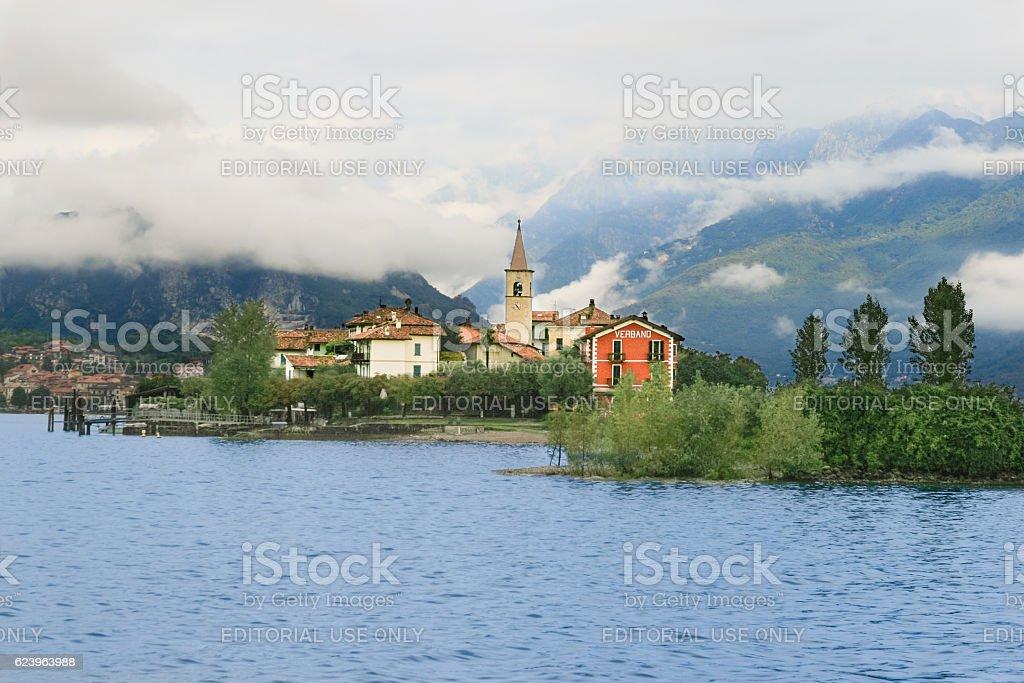 Lake Maggiore, Hotel Verbano, Isola dei Pescatori and Alps, Italy. stock photo
