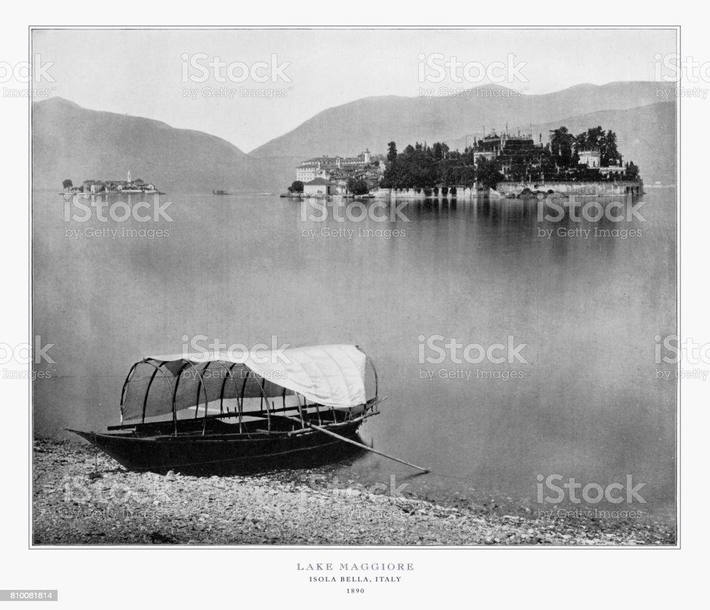 Lake Maggiore, Isola Bella, Italy, Antique Italian Photograph, 1893 stock photo