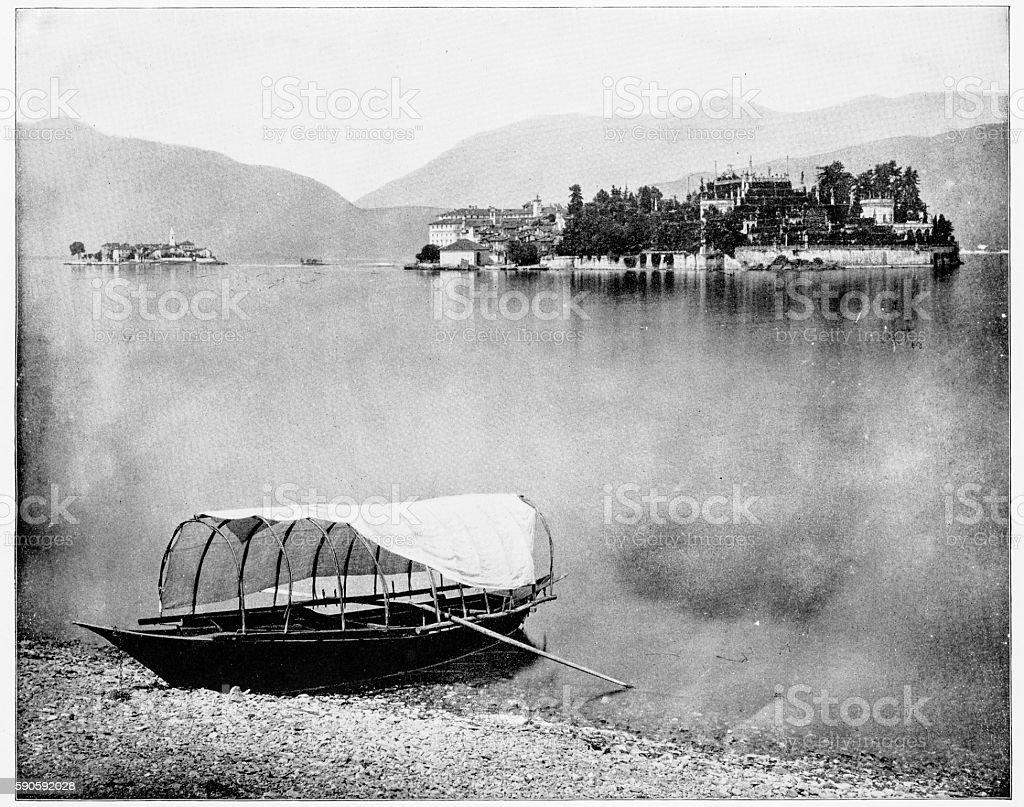 Lake Maggiore, Isola Bella, Italy in 1880s stock photo