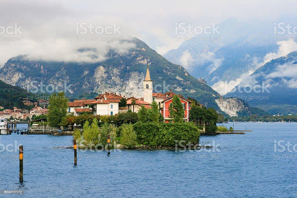 Lake Maggiore, Isola dei Pescatori and Alps, Italy. stock photo