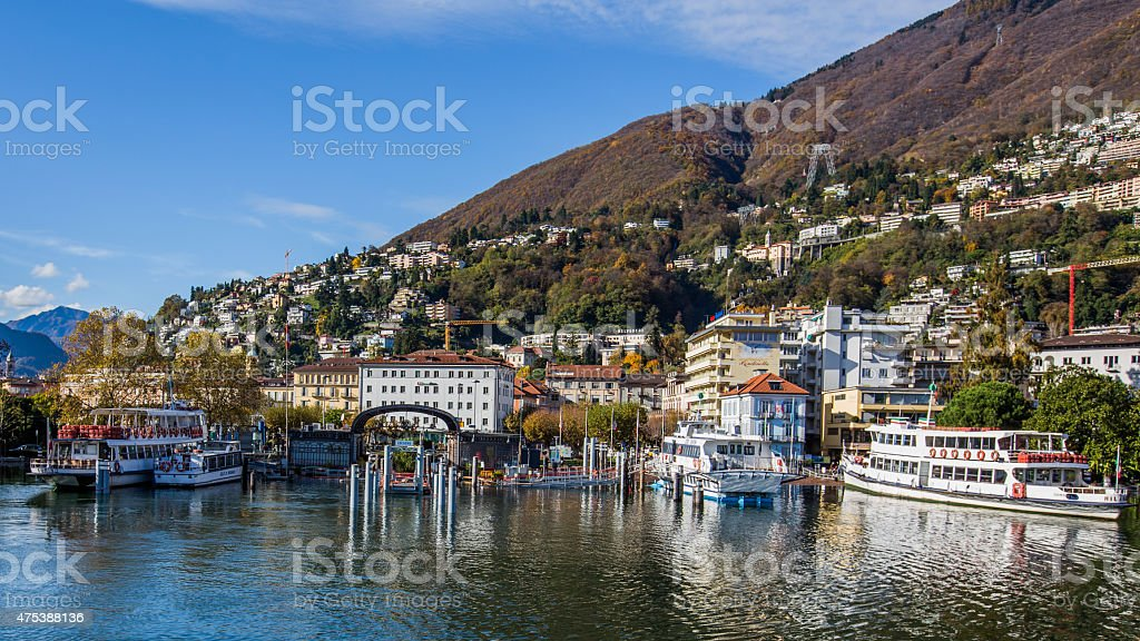 Lake Maggiore overflows in Locarno stock photo