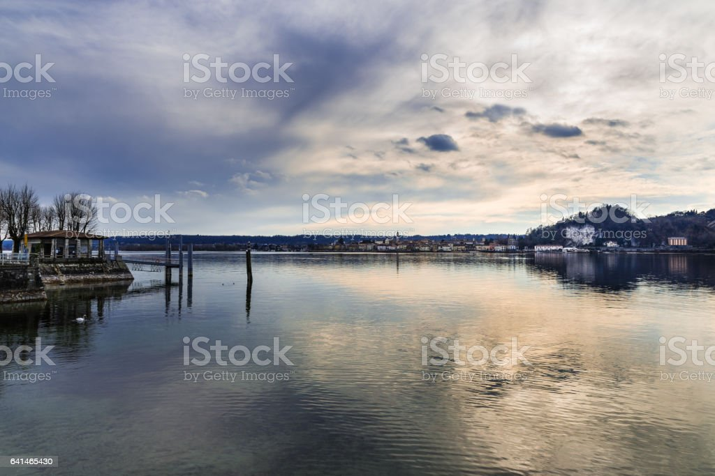 Lake Maggiore (Verbano), picturesque view from the small touristic village of Angera towards Arona, Italy stock photo