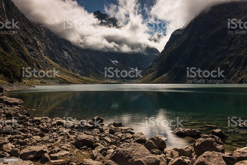lake Marian in Fiordland National Park stock photo