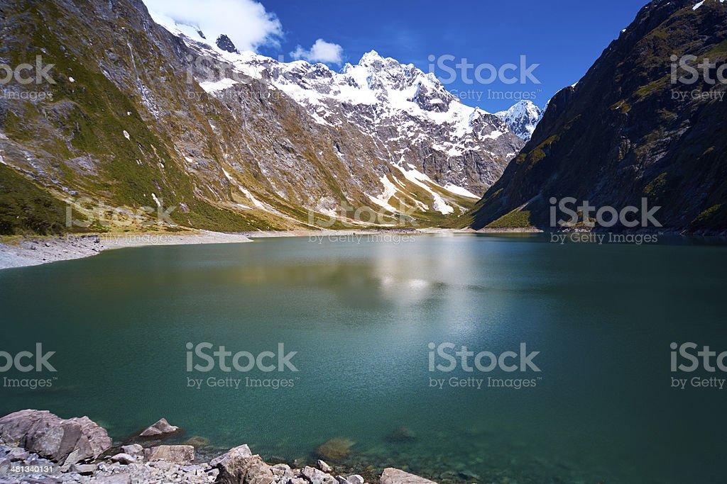 Lake Marian In New Zealand's Fiordland National Park stock photo