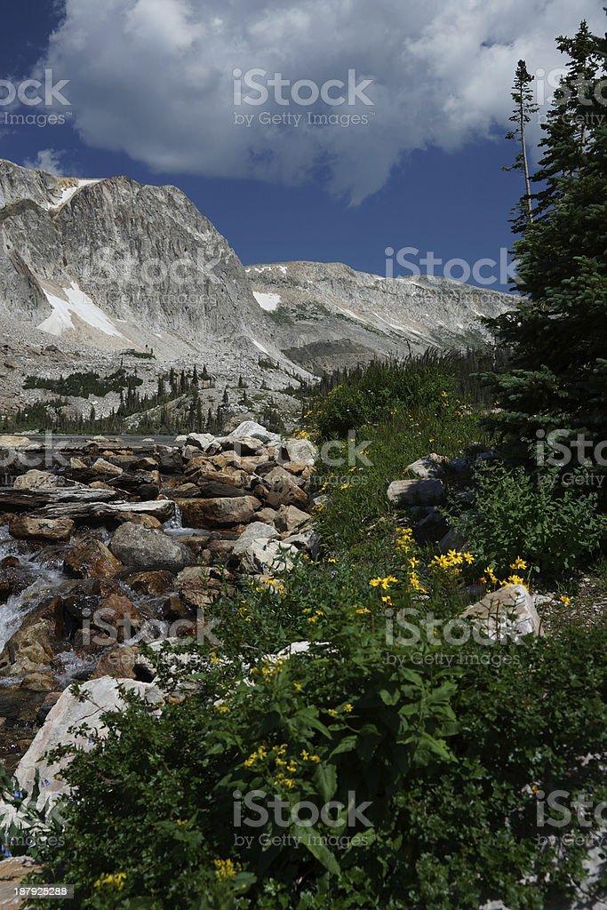 lake marie and snowy range stock photo