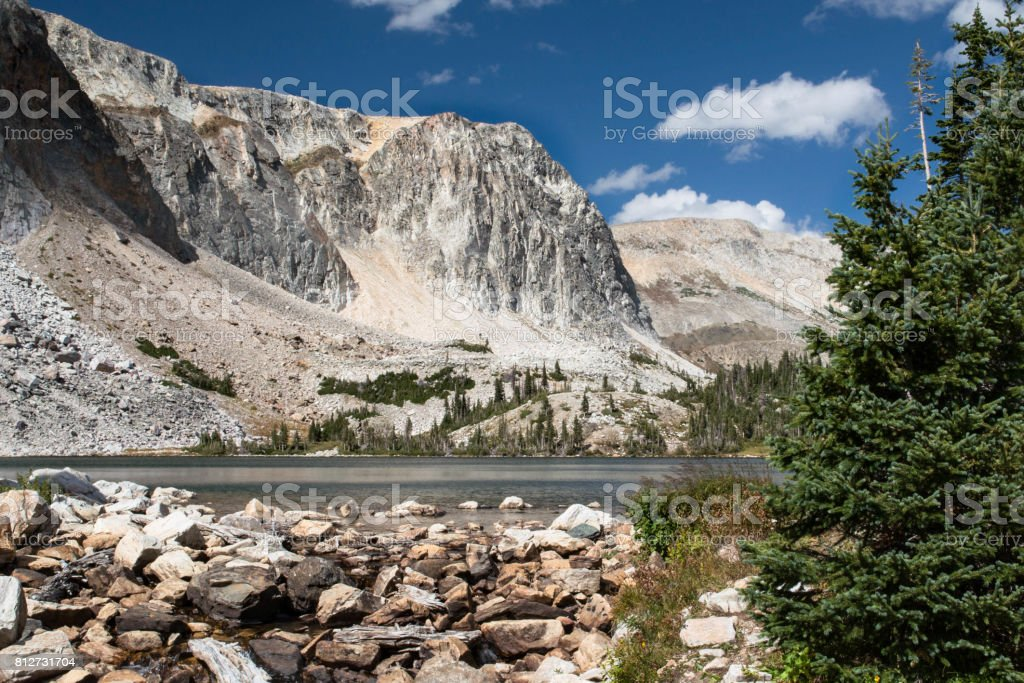 Lake Marie on scenic road of Wyoming stock photo