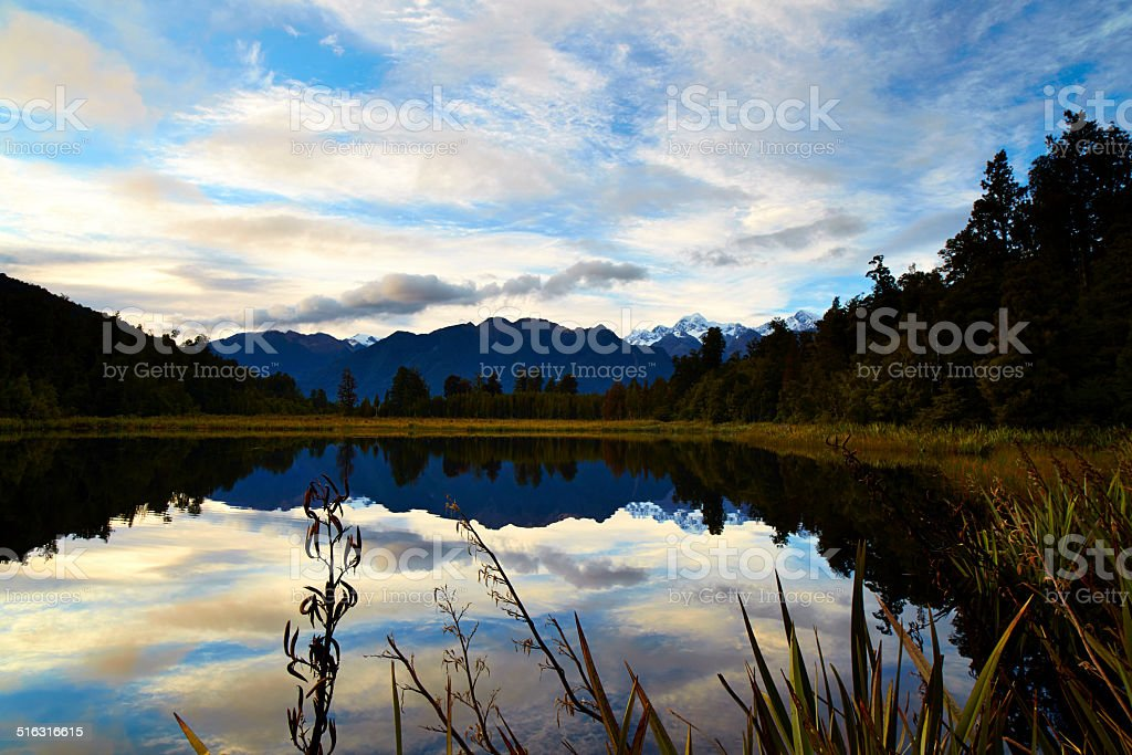 Lake Matheson At Dawn stock photo