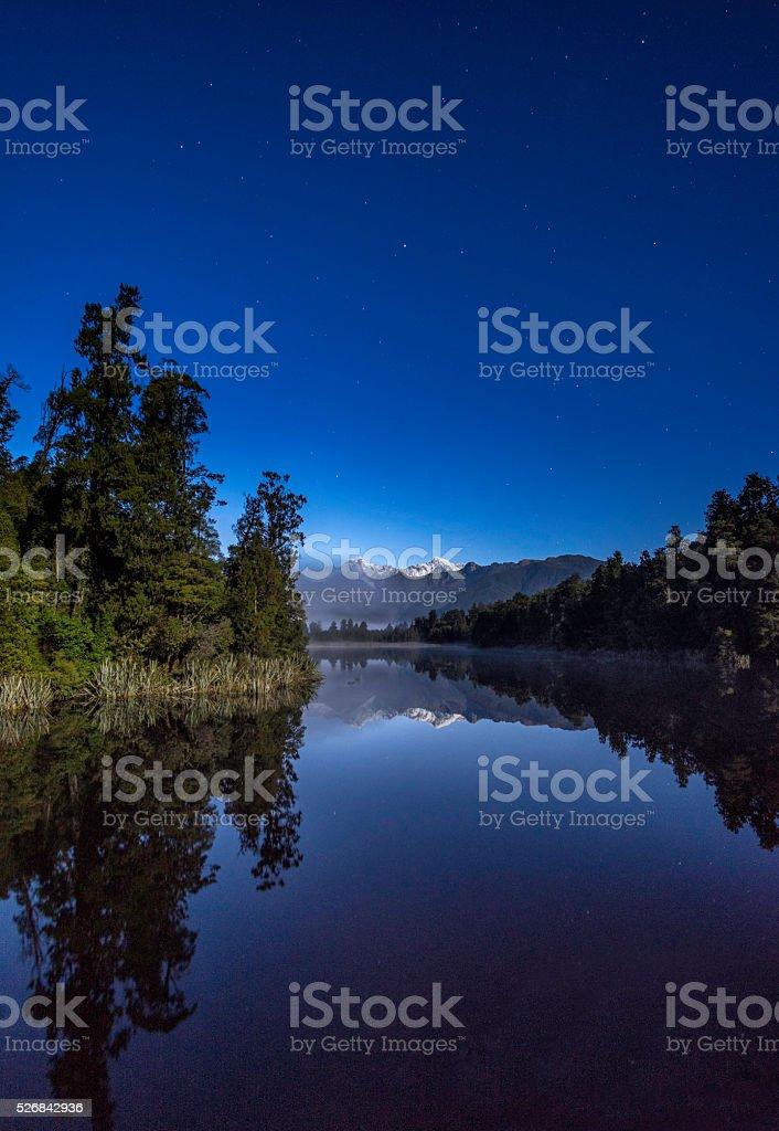 Lake Matheson at Night. stock photo