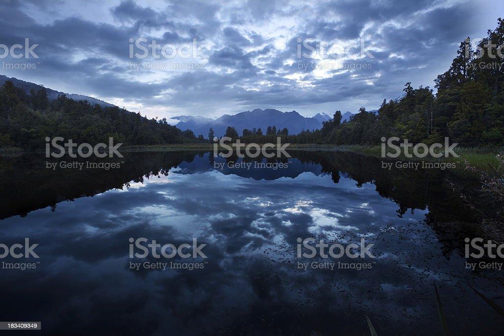 Lake Matheson before sunrise,  New Zealand stock photo