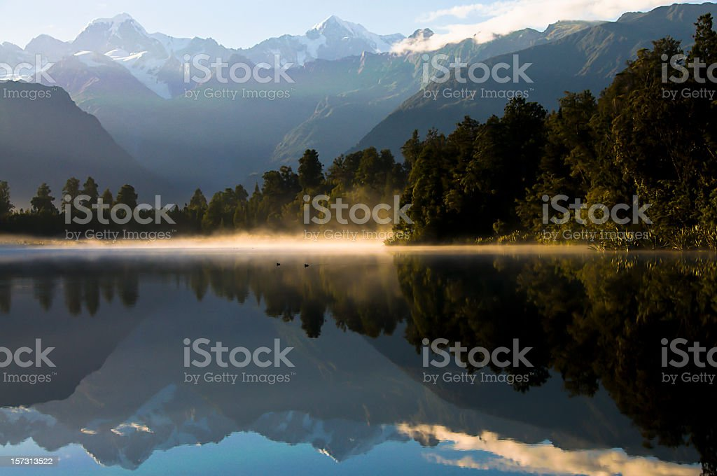 Lake Matheson Dawn stock photo