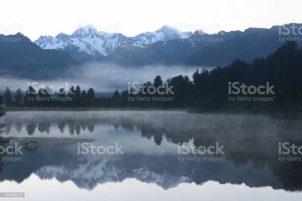 Lake Matheson in the early morning, New Zealand royalty-free stock photo