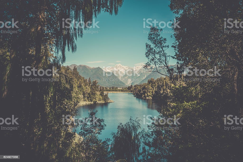 Lake Matheson Landscape Panorama, New Zealand, South Island stock photo