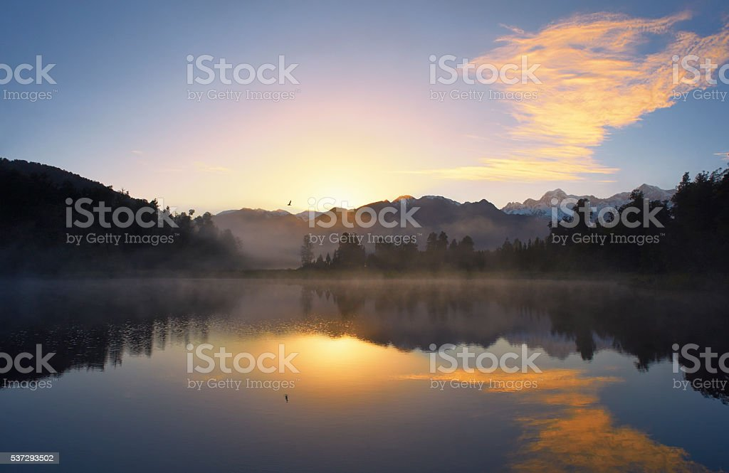 Lake Matheson On New Zealand's South Island stock photo