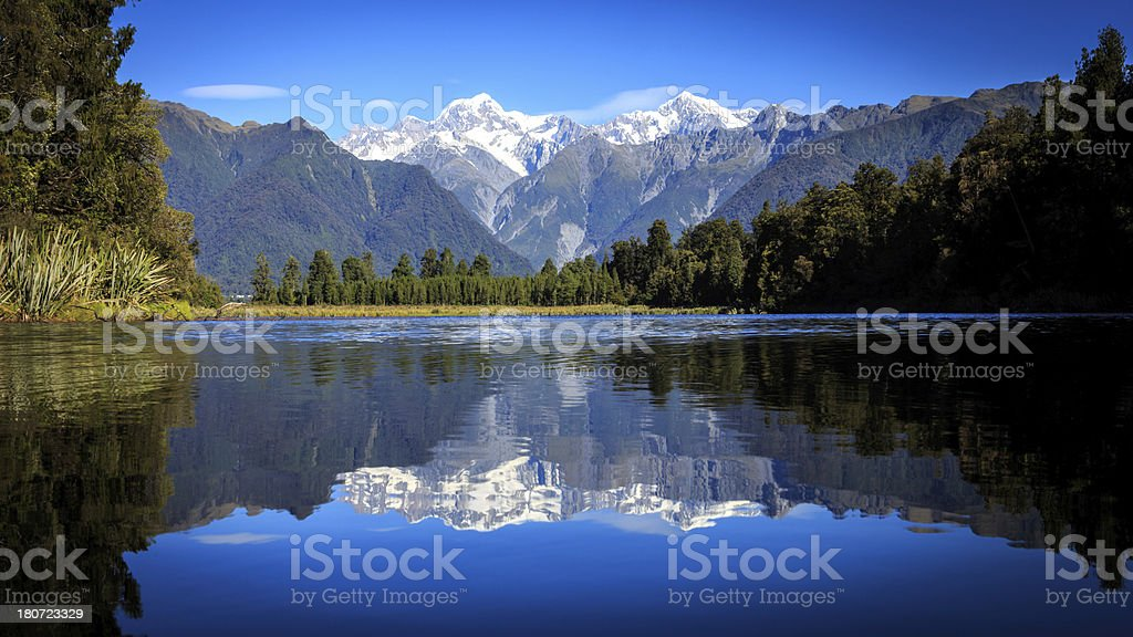 Lake Matheson Panorama, New Zealand stock photo