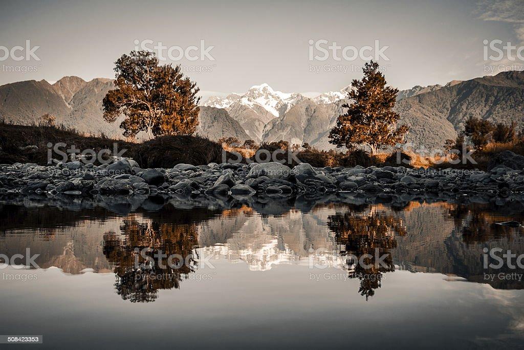 Lake Matheson Panorama stock photo