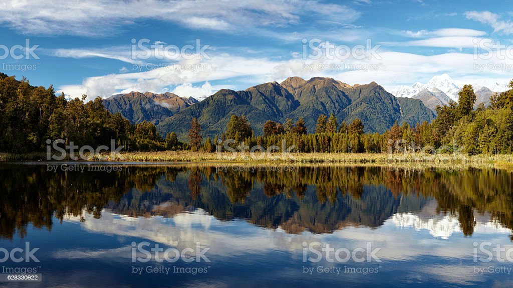 Lake Matheson Panoramic On New Zealand's South Island stock photo