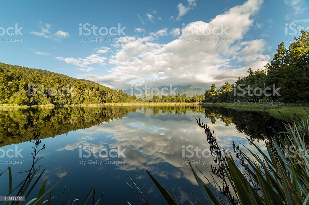 Lake Matheson reflecting the Mount Cook and southern Alps stock photo