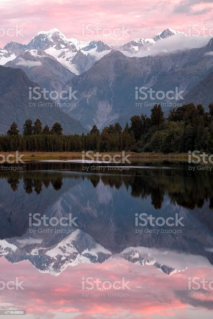 Lake Matheson Reflection stock photo