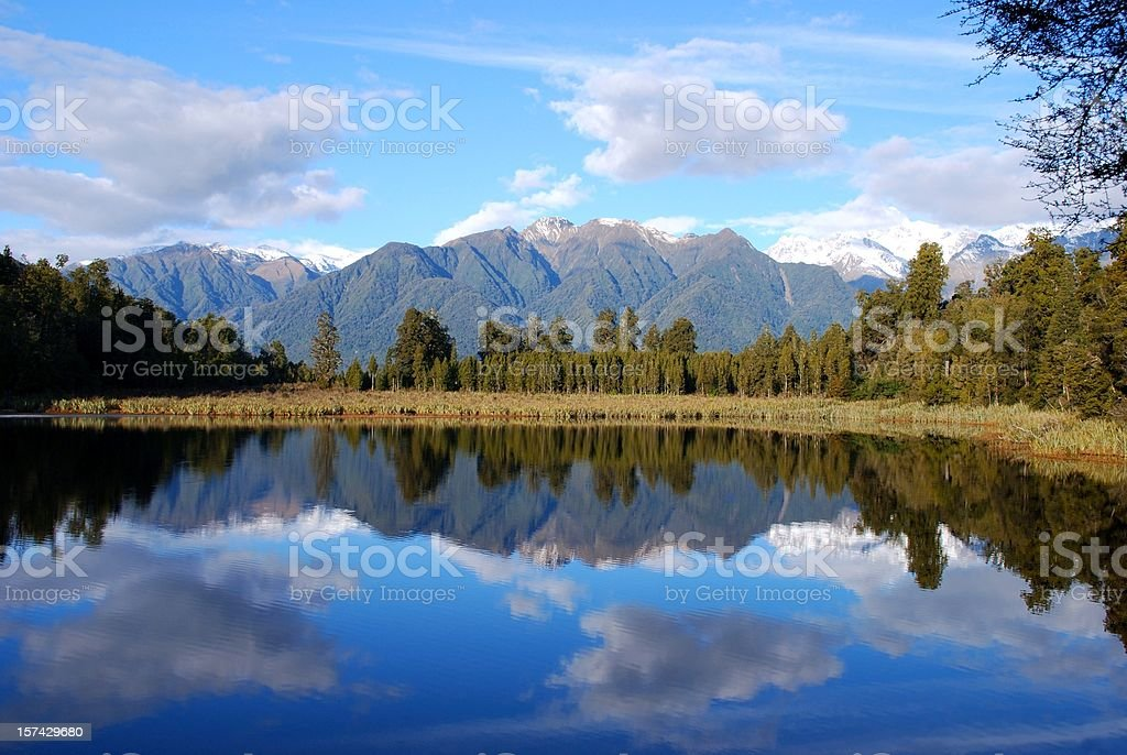Lake Matheson Reflection, West Coast, New Zealand stock photo