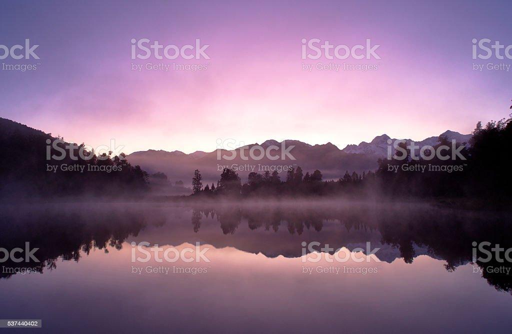 Lake Matheson Reflections On New Zealand's South Island stock photo